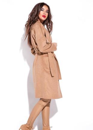 Бежевое пальто демисезонное под пояс