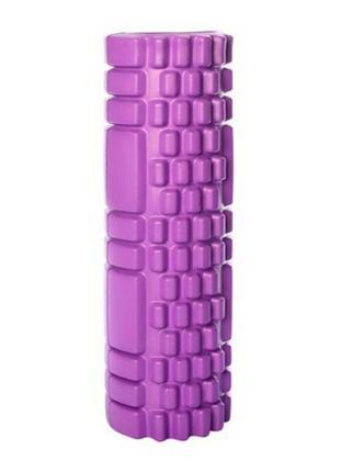 Массажный валик для спины фиолетовый 30х10 см, пенный массажны...