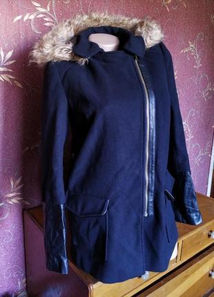 Куртка пальто\косуха с капюшоном,темно-синего цвета✨