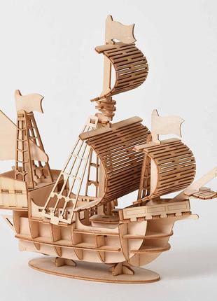 3D Деревянный конструктор. Модель: Парусный корабль