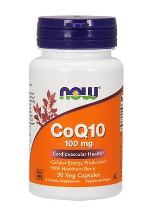 Now Foods, Коэнзим Q10, 100 мг, с боярышником, 30 вегетарианск...