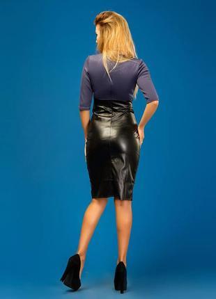 Платье черно-синее с  юбкой с искусственной кожи украина