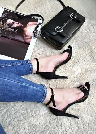 Замшевые босоножки, каблук, туфли, 38р, шикарные