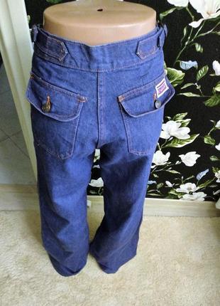 Широкий клёш! высокая посадка джинсы синие 100% коттон!