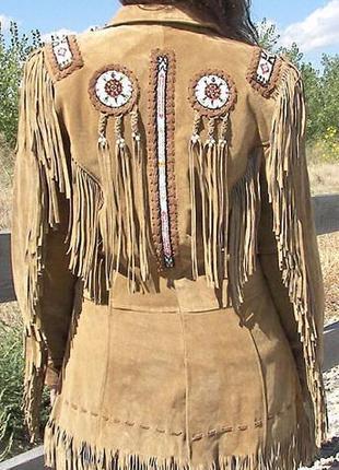 Шикарная оригинальная замшевая курточка в стиле вестерн, ковбо...