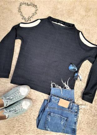 Оригинальный свитшот, кофта, открытые плечи, свитер