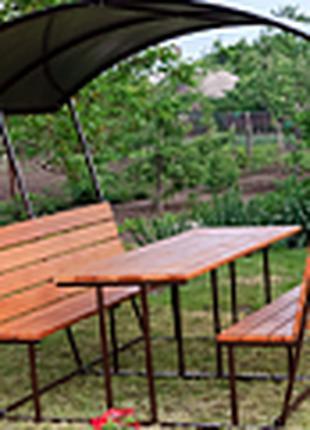 УЮТ-1 - беседка садовая для дачи. Мебель:стол,лавка,скамейка,а...