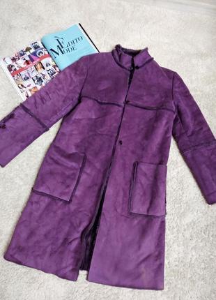 🔥дублёнка яркая🔥 пальто, шубка🔥 over size, прямой крой🔥 фиолет...