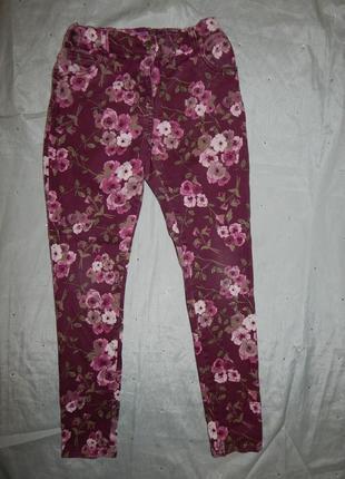 Джисы на девочку модные в цветы укороченные 11-12 лет 152см