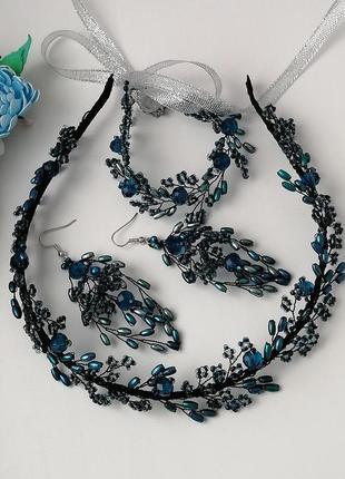 Вечерние украшения ручной работы «blue»