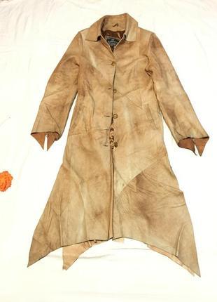 Натуральное кожаное пальто тренч на подкладке эксклюзивная кож...