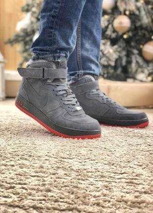 Nike air force мужские зимние ботинки с мехом в сером цвете /о...