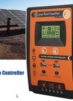 50А 12 В 24 в автоматический Солнечный контроллер заряда PWM с ЖК
