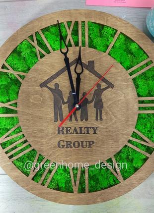Эко-часы деревянные из мха, с вашим лого или слоганом!