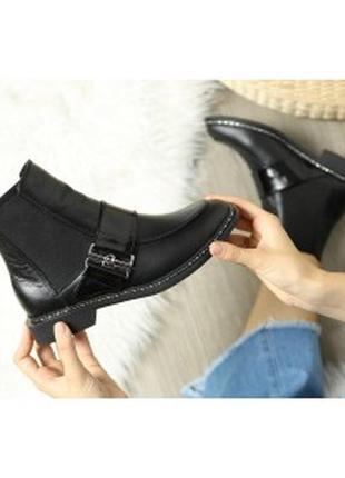 Женские кожаные ботинки с квадратным носком