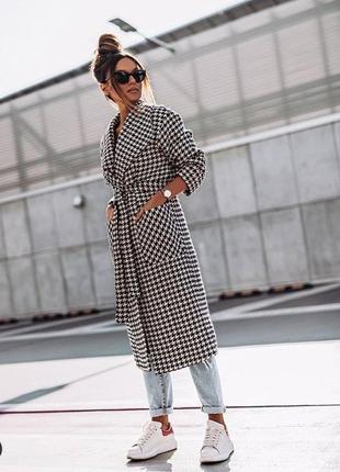 Кашемировое пальто тренч с поясом и карманами гусиная лапка