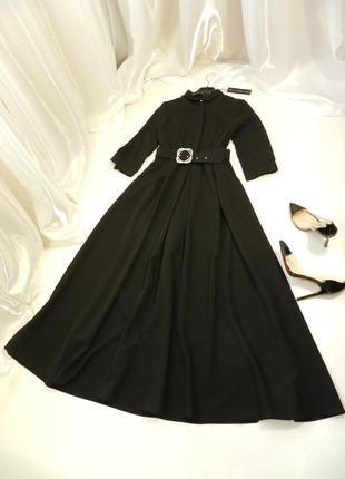 Топ ✅ платье пышное длинное с поясом и карманами