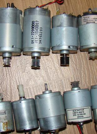 Двигуни різнокаліберні, постійного струму 3 - 5 - 12 - 24 вольт