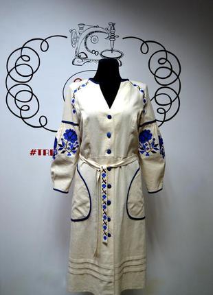 Платье-кардиган с современной вышивкой