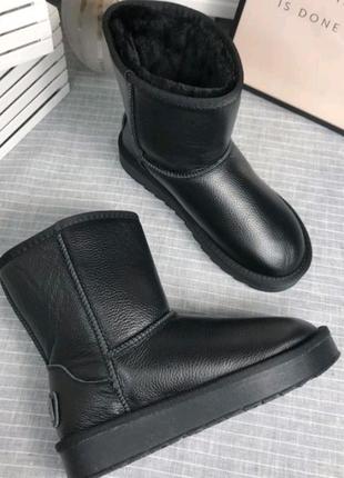 Угги сапоги черные кожаные