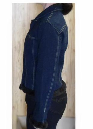 Куртка джинсовая синяя недорого интересная модель джинс с мехо...