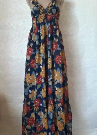 Новый красочный шифоновый летний сарафан в яркий цветочный при...