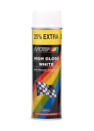 Краска аэрозольная, эмаль универсальная акриловая белая глянце...