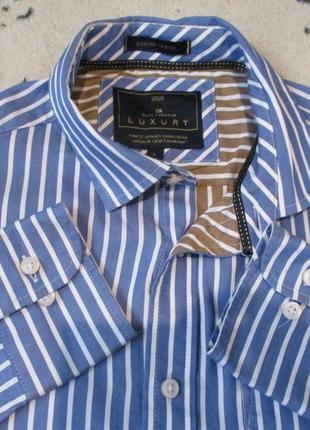 Красивая рубашка в полоску с длинным рукавом/батал