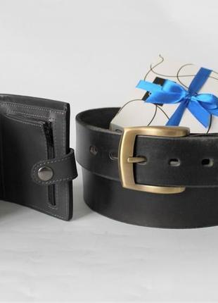 Мужской подарочный набор ремень+кошелек черные😍