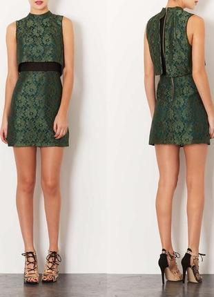 Topshop платье зеленое кружево гипюр кружевное c шифоном футляр