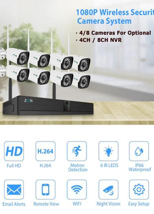Zoohi система видеонаблюдения Wi-fi 4 камеры 1080P 2MP уличная