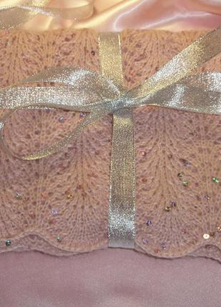 """Шарф """"Angora Gold"""" пастельно-розовый. Ручная работа"""