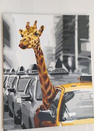 Картинка на холсте Жираф ,,В городе,,