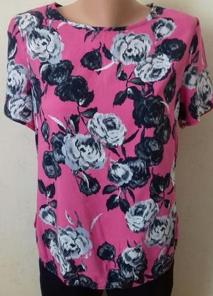 Натуральная блуза принт цветы