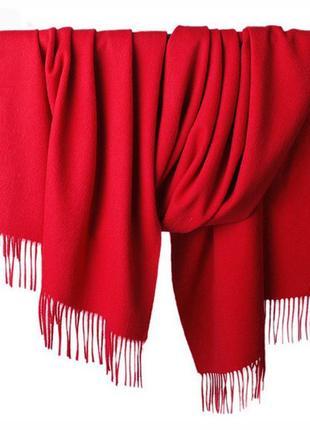 Палантин роскошного красного цвета из шерсти и шелка