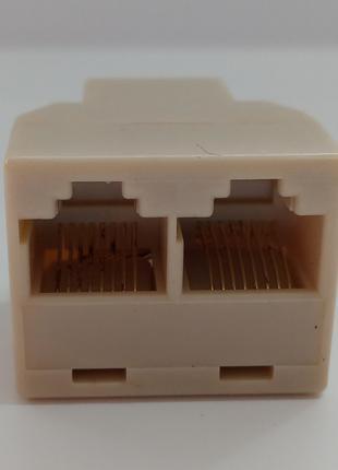 Переходник-разветвитель витой пары UTP 1*2 RJ45 (1 Rj45 to 2 R...