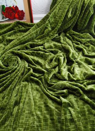 Велюровое покрывало кубики зеленый цвет евро размер 220*240 см