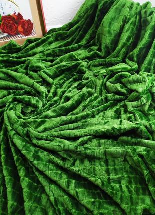 Велюровое покрывало кубики ярко зеленый цвет евро размер 220*2...