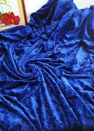 Велюровое покрывало кубики синий цвет евро размер 220*240 см