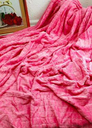 Велюровое покрывало кубики розовый евро размер 220*240 см