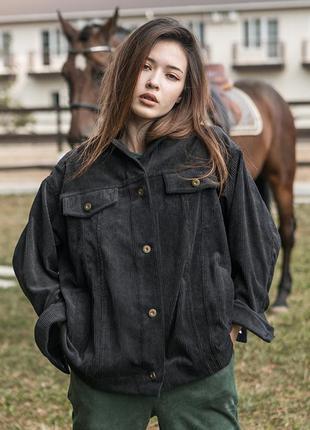 Стильная 💥 вельветовая черная женская куртка оверсайз