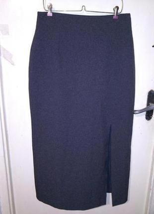 Элегантнейшая,офисная,серая,длинная,юбка-карандаш с разрезами,...