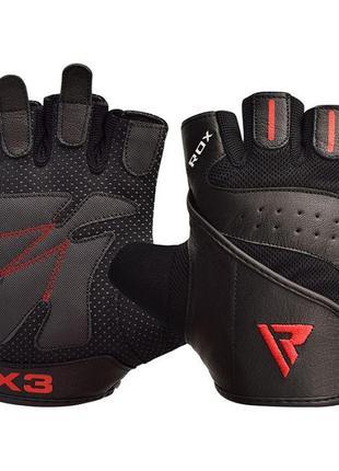 Перчатки для фитнеса мужские кожаные RDX S2 Leather Black S че...