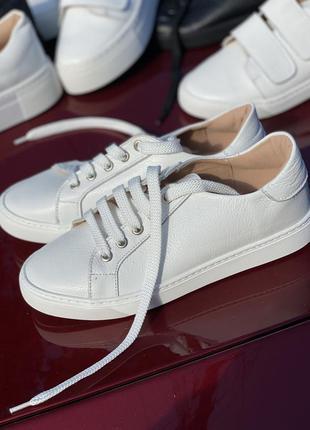 Белые кожаные кеды натур. кожа, кроссовки