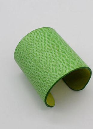 Браслет кожаный широкий зеленый