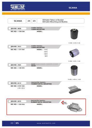 Подушка радиатора резина-металл Scania SEM8275