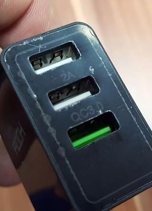 Мощная зарядка с дисплеем Три USB выхода QC 3,0 9V 2A, 5V 2A 30W