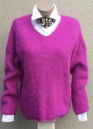 Малиновый-розовый свитер,джемпер,пушистый пуловер,травка,больш...