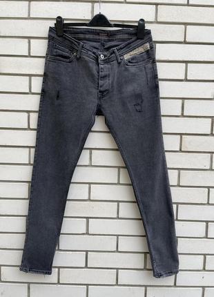 Серые джинсы скинни с потертостями унисекс roberto cavalli