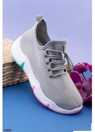 Кроссовки женские кроссы кросівки кроси серые сірі с радужной ...